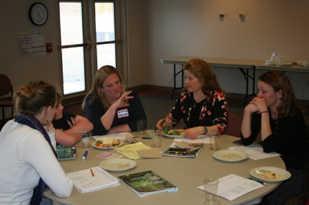 Lincoln's GROW team--teachers, principal, parent, student--discuss community engagement at a workshop on effectively involving parents and others in the GROW initiative.