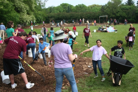Muir Elementary's hard-working students got a boost from volunteers at CUNA Mutual. Staff from the Madison Community Foundation also lent a hand.