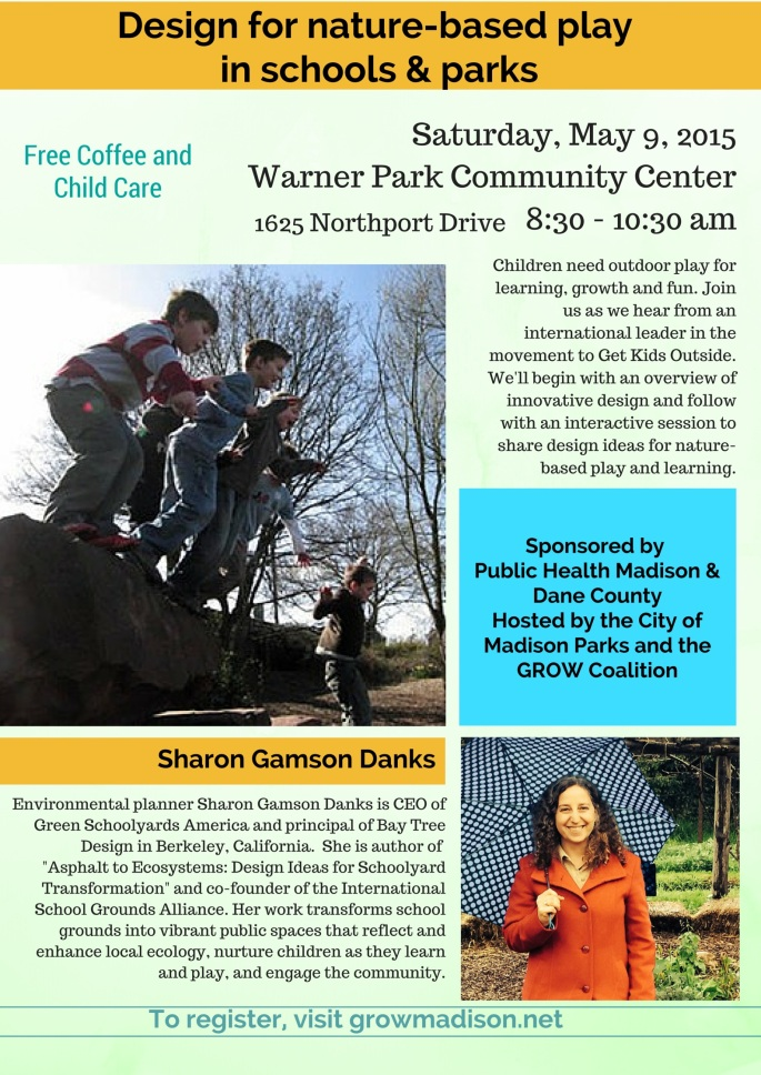 Design for nature-based play: Flyer for May 9 event